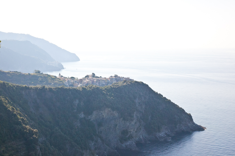 The town of Corniglia viewed from the Sentiero Azzurro (blue trail) hike between Corniglia and Vernazza