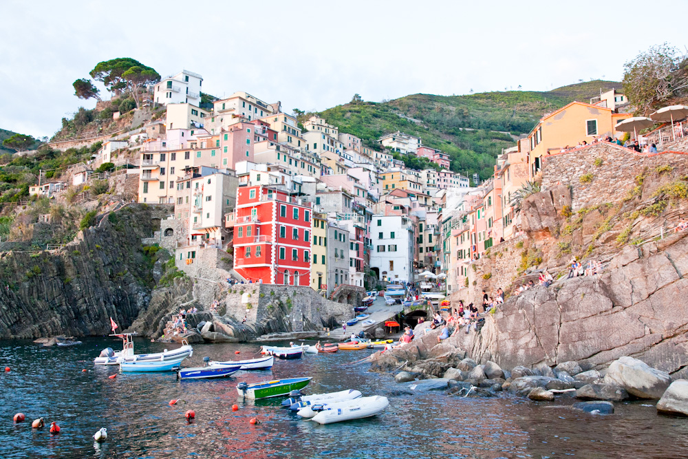 The town of Riomaggiore at sunset