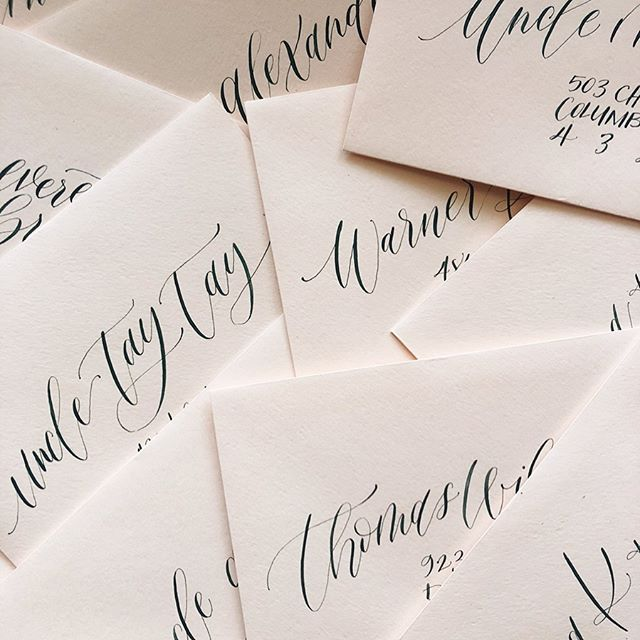 Hey look! I actually calligraphed some envelopes and remembered to take a picture! 🙌🏻 . But really—I've been on a long break, trying to figure out how to have a business and be a mom at the same time. Turns out being a mom is a lot more fun when you're not stressed out all the time! 😅😆🤦🏼♀️ I've also been working on something else that I'll probably start sharing more of in my stories...(hint: 🧵) and it's been so great to have time to work on my own stuff! . Anyway, I do plan to come back to the business when it feels right but for now I'm just trying to soak up these precious times while my babies are still (kinda) little. ❤️