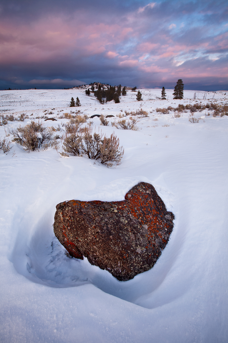 A lichen covered boulder sits free of snow at Yellowstone National Park's Blacktail Plateau.  This image is a blend of multiple exposures.  Image ©Connor Stefanison