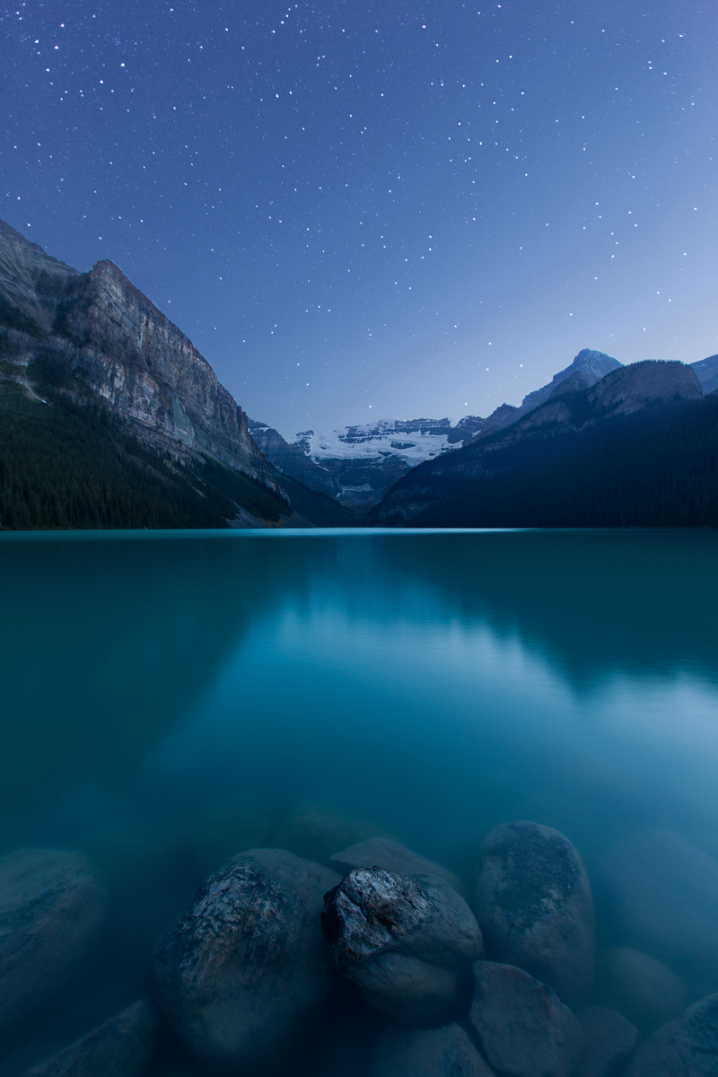 Lake Louise in Banff National Park, Alberta, Canada.  This image is a blend of multiple exposures.   Image ©Connor Stefanison