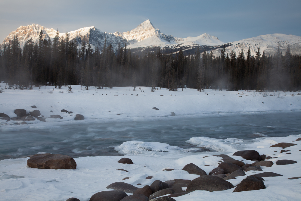 Morning on the Athabasca River in Jasper National Park, Canada.  Image ©Connor Stefanison