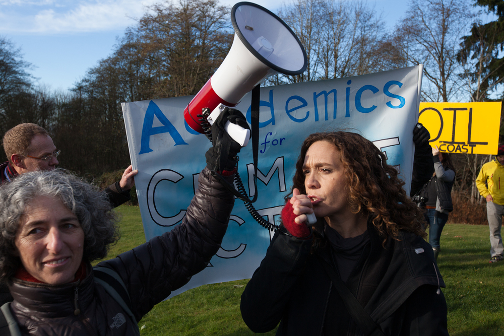 "Professors and scientists gather at an ""Academics for Climate Action"" rally on Burnaby Mountain."