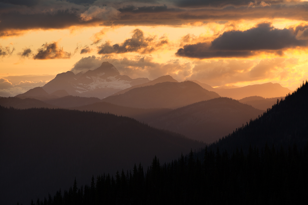 Sunset over Silvertip from Manning Provincial Park, B.C, Canada.  Image ©Connor Stefanison