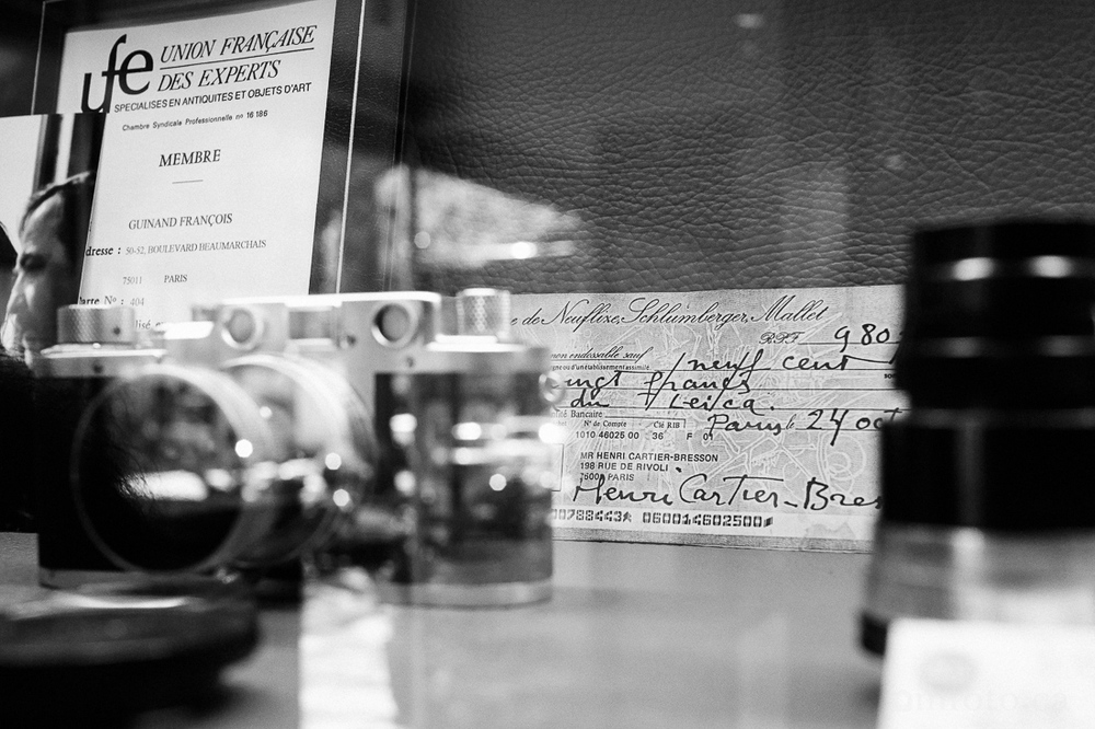 A copy of the cheque issued by Cartier-Bresson to purchase a Leica Camera in 1985 (at the Leica Store in Paris)
