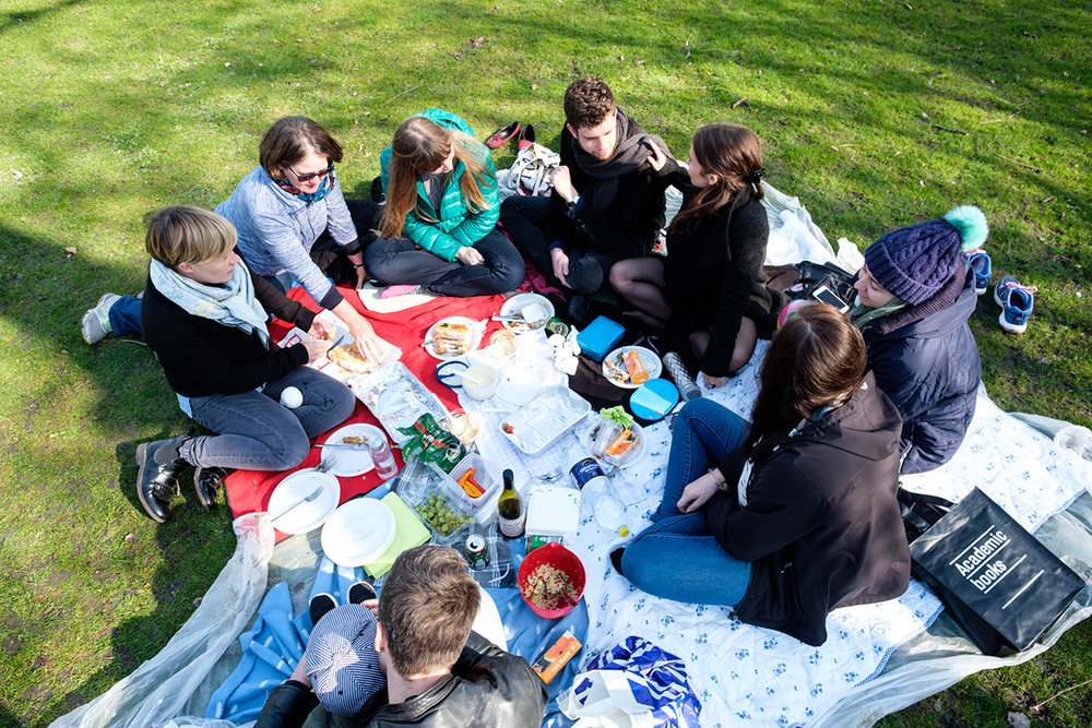 A group of friends have a picnic lunch in Frederiksberg Have in Copenhagen