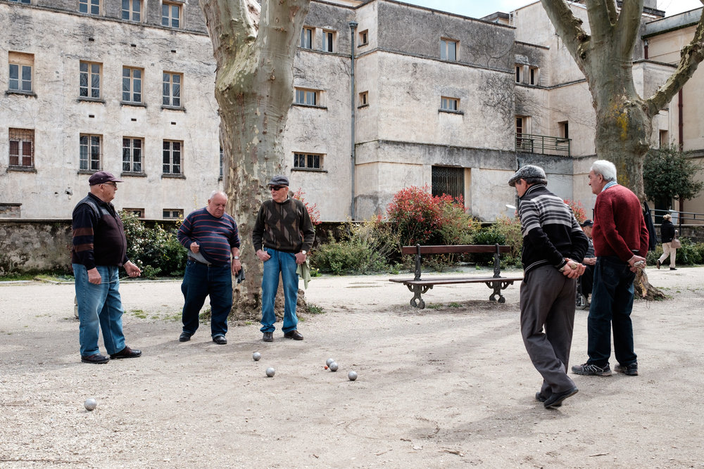 A friendly game of petanque - lunch stop in  Villeneuve-sur-Lot , France   FUJIFILM X-T1, XF 23mm f/1.4 R