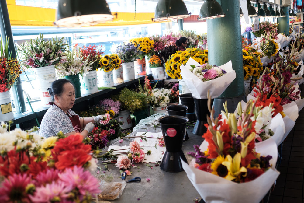 Flower vendor at Pike Place Market in Seattle