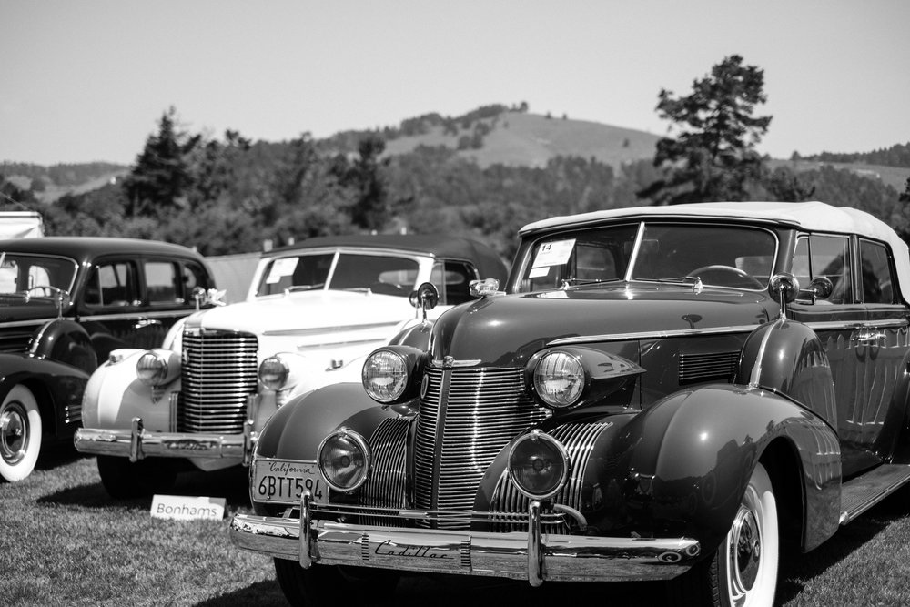 Vintage Classic Cars on display at Pebble Beach Car Show in California USA