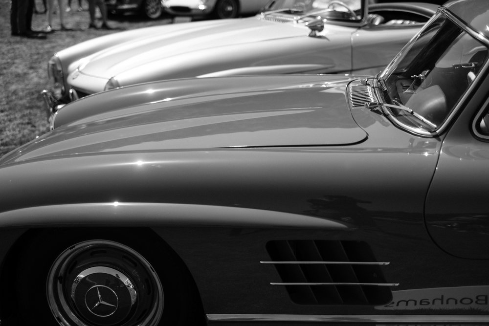 Classic Vintage Mercedes cars on display at the Pebble Beach Concours in California USA