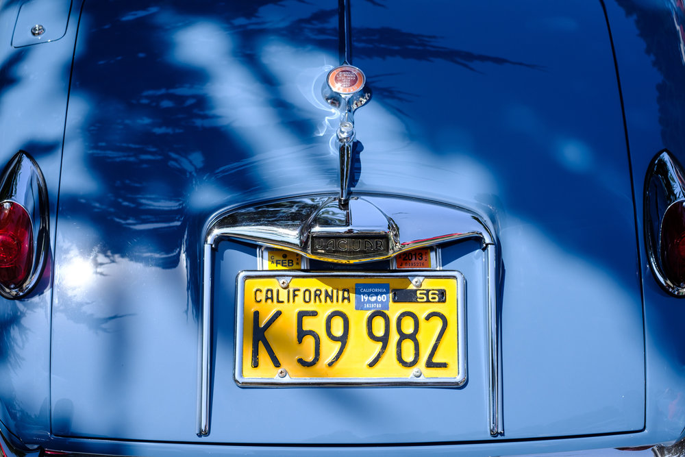 Classic Blue Jaguar with Yellow California Plates at Pebble Beach Concours