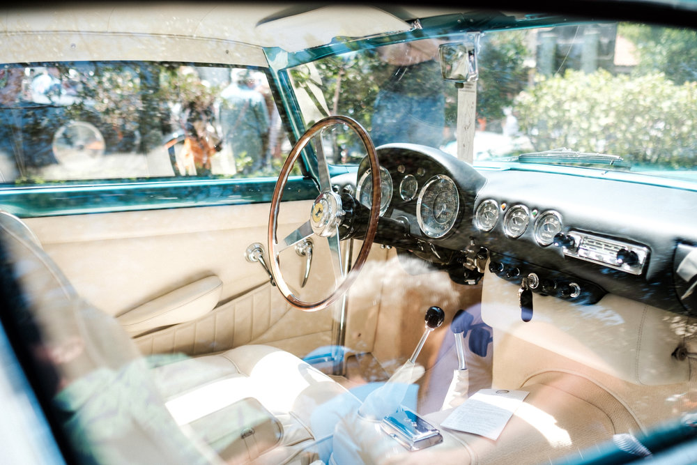 interior of a Classic car at Pebble Beach Concours