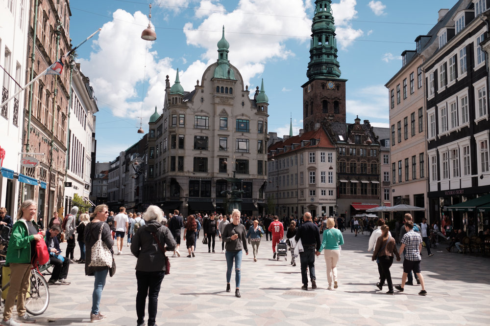 """And out came the sun at """"Strøget"""", Copenhagen's famous pedestrian shopping street"""