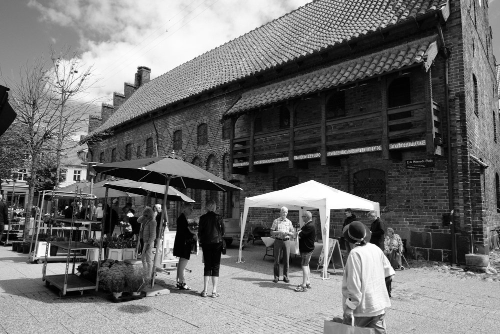 A small market along the pedestrian shopping streets in Randers