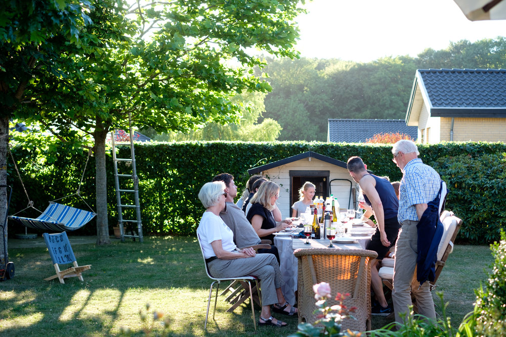 For about a week we enjoyed dinners outside every night. Here with the Byskov families in Studstrup, North of Aarhus
