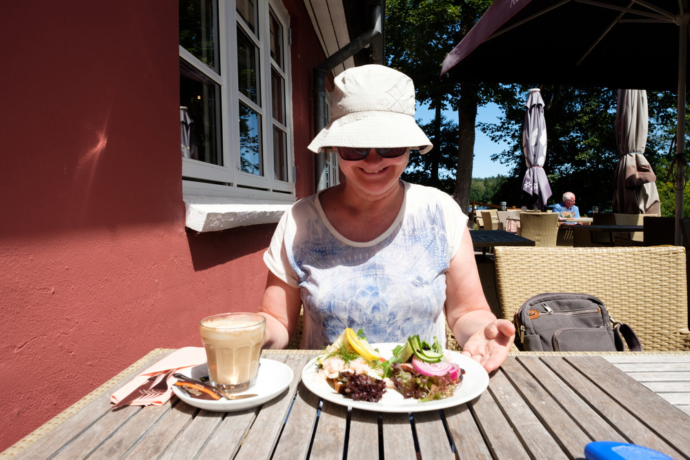 Di is thrilled with her choice of lunch during a brief stop in Silkeborg