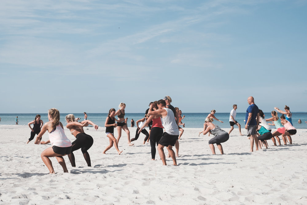 This must be why most Swedes seem super fit! Fitness workout on the beach in Skanör.