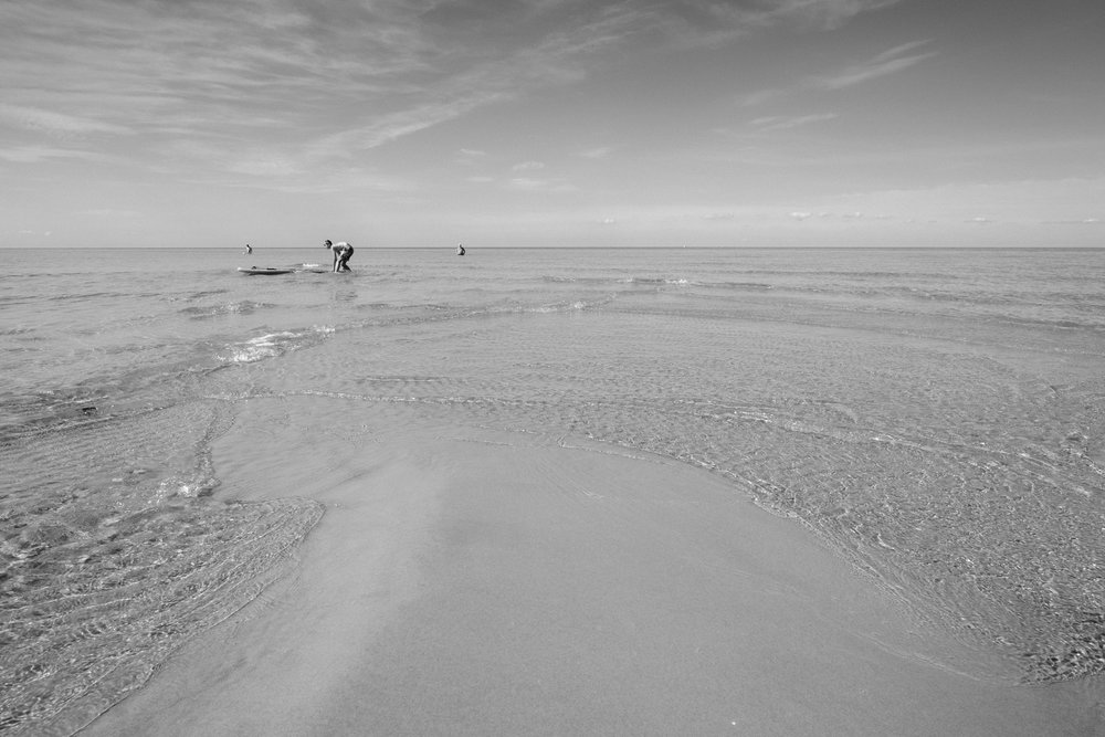 The photo is black and white but it was the clearest and warmest water imaginable, and the bluest of skies. And it's Sweden - who knew!
