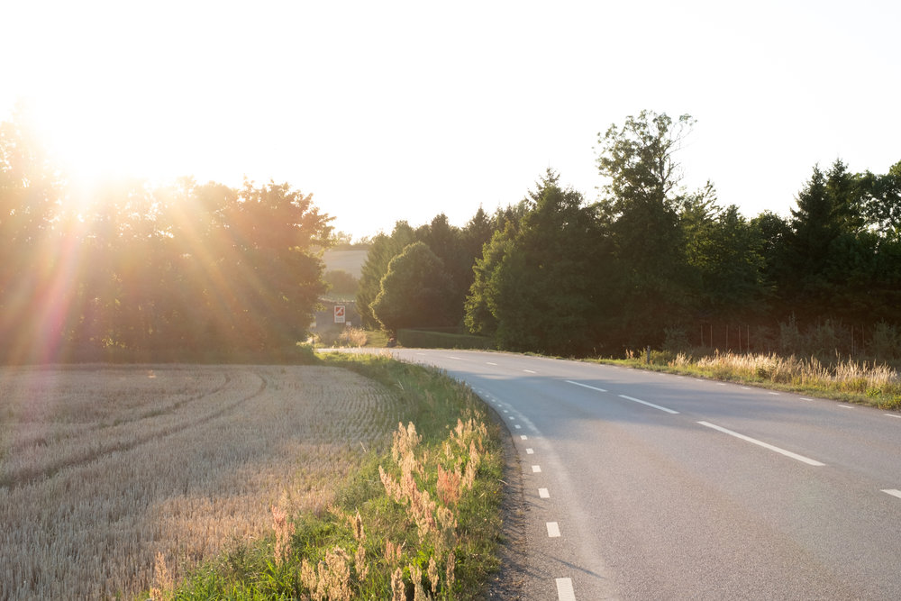 Astrid Lindgren country - soft light and winding roads en route to our Airbnb i Brösarp.