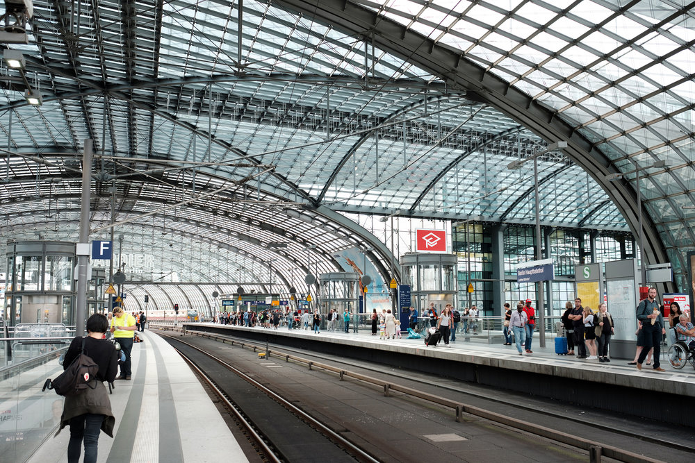 We had no train to catch but made a stop at Berlin's Hauptbahnhof, Main Train Station. An impressive architectural accomplishment, completed on time for the 2006 soccer World Cup.