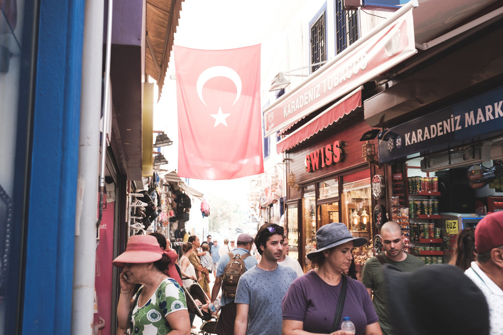 A busy shopping street in Bodrum Turkey
