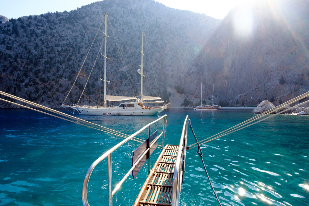 Approach to St. George's Beach onboard the Poseidon on a round island cruise of Symi in Greece