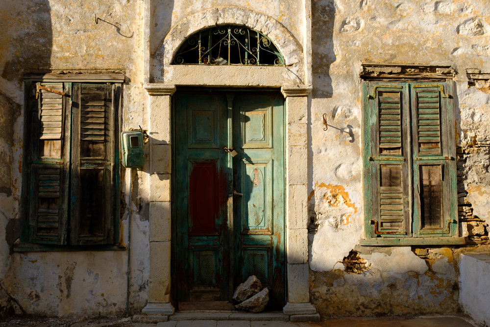 The front door to a house on the island of Symi in Greece