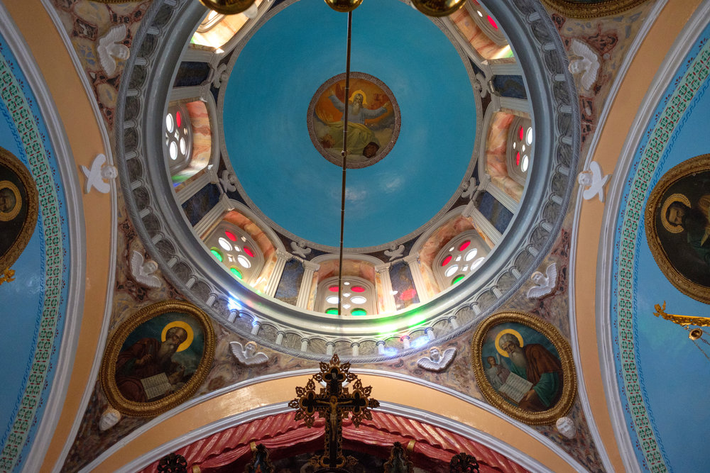 church dome on the island of symi in greece