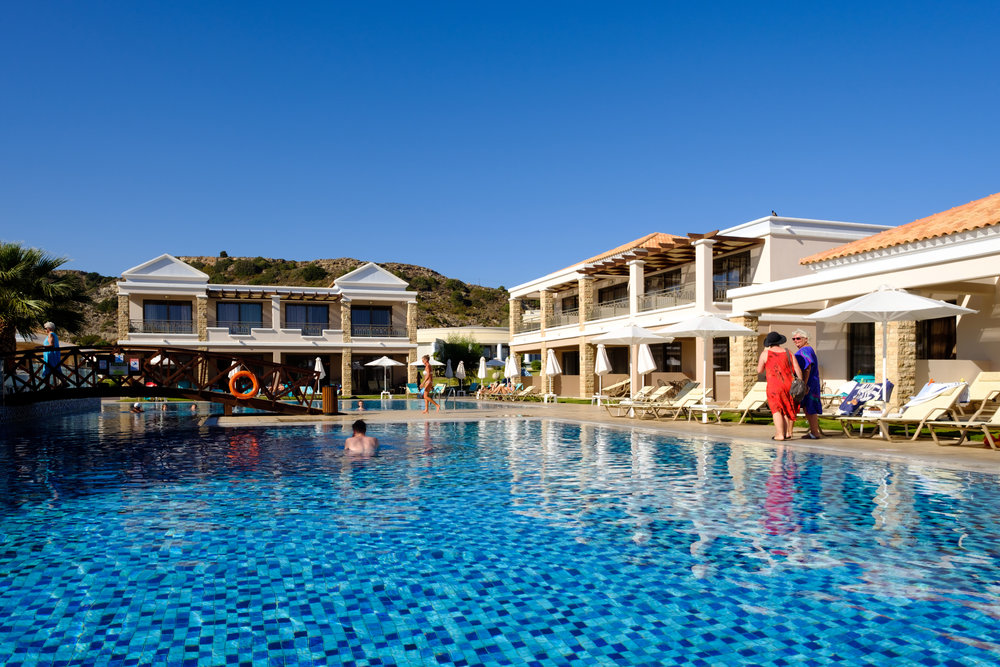 Pool side at a Rhodes resort in Greece