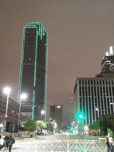 I love this shot. Not sure what building it is, but I love the green light outline in the dark!