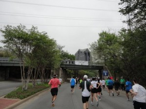 Running downhill, about to go under the Katy Trail