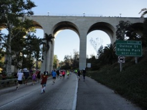 Running under the bridge (and the marathon lead runners were left of us. Pretty awesome!)