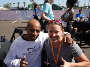 Meb & me! He won the half marathon. Not sure where his medal is. :)