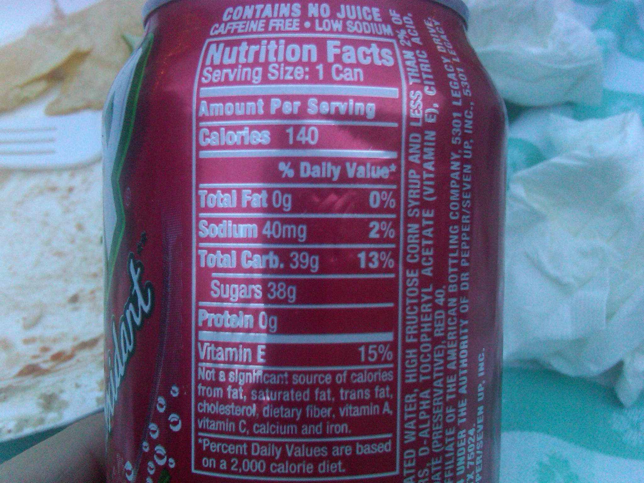 Can of Cherry 7UP (look at sugar content!)