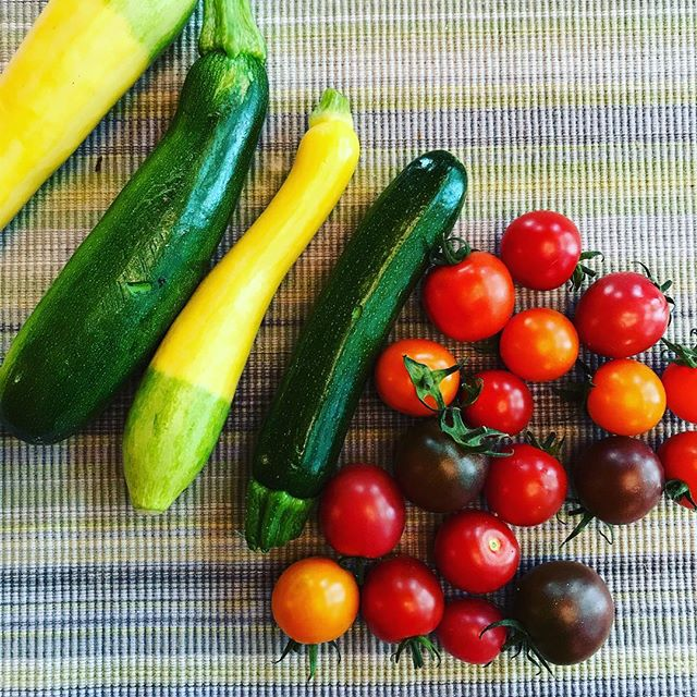 Give me alllll the local, small organic farm summer veggies please! 🍅🥒Seriously, I could eat these all day! I'd much rather have this than candy. 🍭How about you? Are a you veggie person? Have you ever ate a whole box of freshly picked cherry tomatoes in one sitting? 😍#localfood #organic #organicfarm #cherrytomato #summersquash #summertime #farmgirl #wellness #crunchymama #happiness #candy #naturescandy