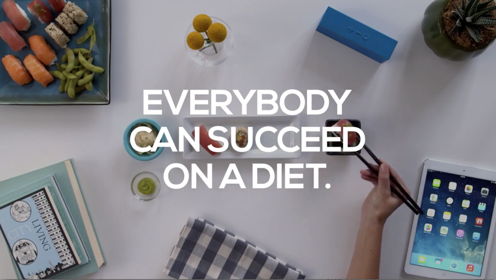 1. Attention:   Attract the viewers. The 'everybody can succeed on a diet' line can be replaced with some catchy texts such as, 'you can succeed on a diet' or 'no more diet fails'. A strong statement or a question is a great way to peak the interest of the viewers.