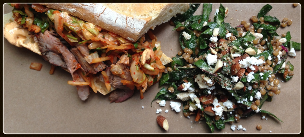 Monday Lunch: charred beef and kimchi sandwich // chard, almond & feta salad