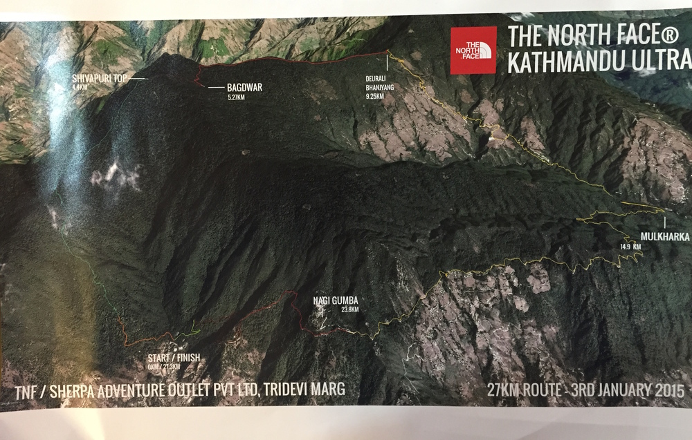 Ultra Trail route up to Shivapuri north from Kathmandu. Event will take place on the 3de of January. I will do the run shown above, the 27 km.