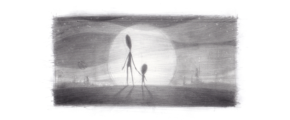 Little Sea Films Ltd_Jeremy Rumas Concept Art_Alien mother and child_sunset_Pencil Graphite drawing_www_littleseafilms_com.jpg