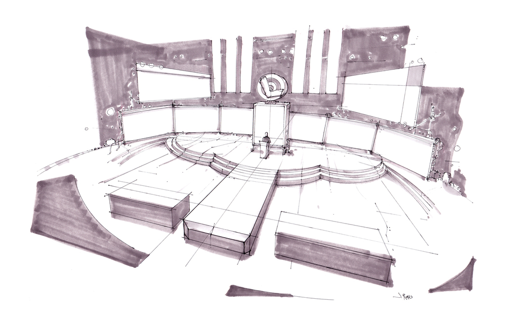 WI Lottery Stage Design Rough + Prismacolor Marker + commercial concept art + NYC concept artist + NYC storyboard artist + NYC storyboards + the Art of Jeremy Rumas + www.jeremyrumas.com.jpg