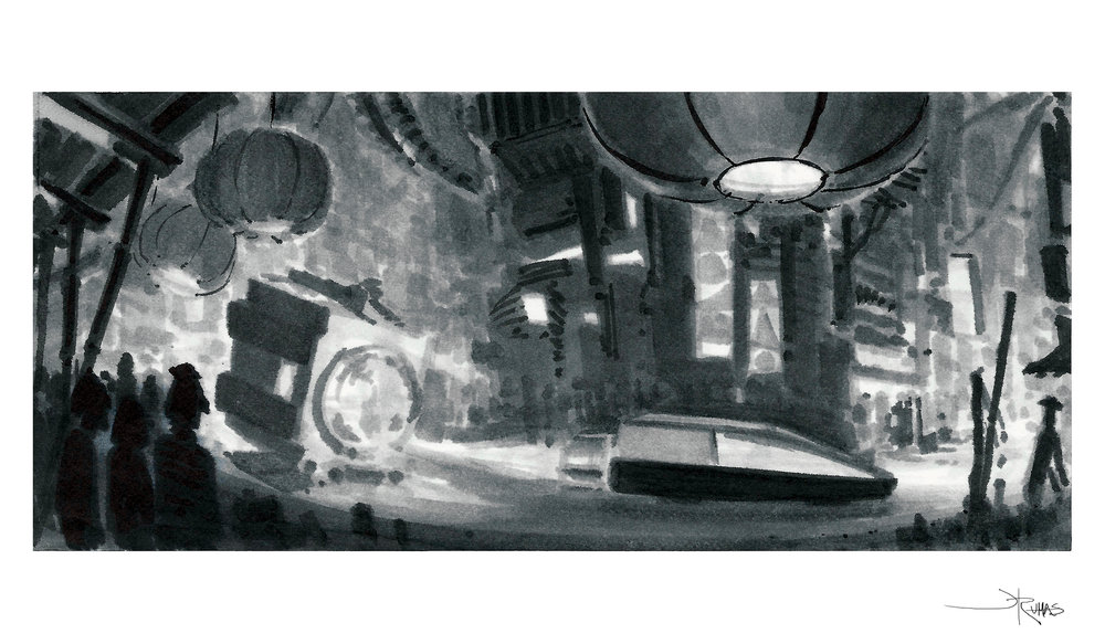 racer vs chaser storyboard sequence - concept sketch by Jeremy Rumas