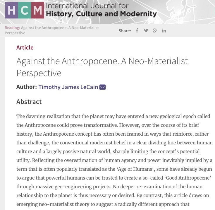 Against the Anthropocene: A Neo-Materialist Perspective