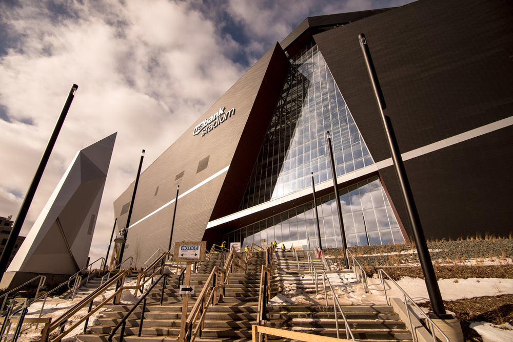 U.S. Bank Stadium in Minneapolis, Minn., is a fixed roof stadium with a translucent roof and movable front windows. The windows and roof allow natural light to enter into the stadium, and give fans a view of downtown. During a media tour on Tuesday, February 16, 2016, it was announced that the stadium is 90 percent complete.