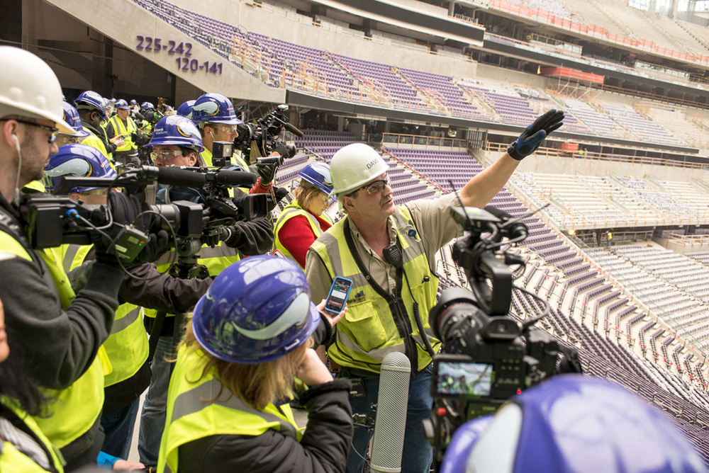 Dave Mansell, general superintendent of M.A. Mortenson Co., talks about the progress on completing U.S. Bank Stadium during a media tour of the arena, Tuesday, February 16, 2016, in Minneapolis, Minn.