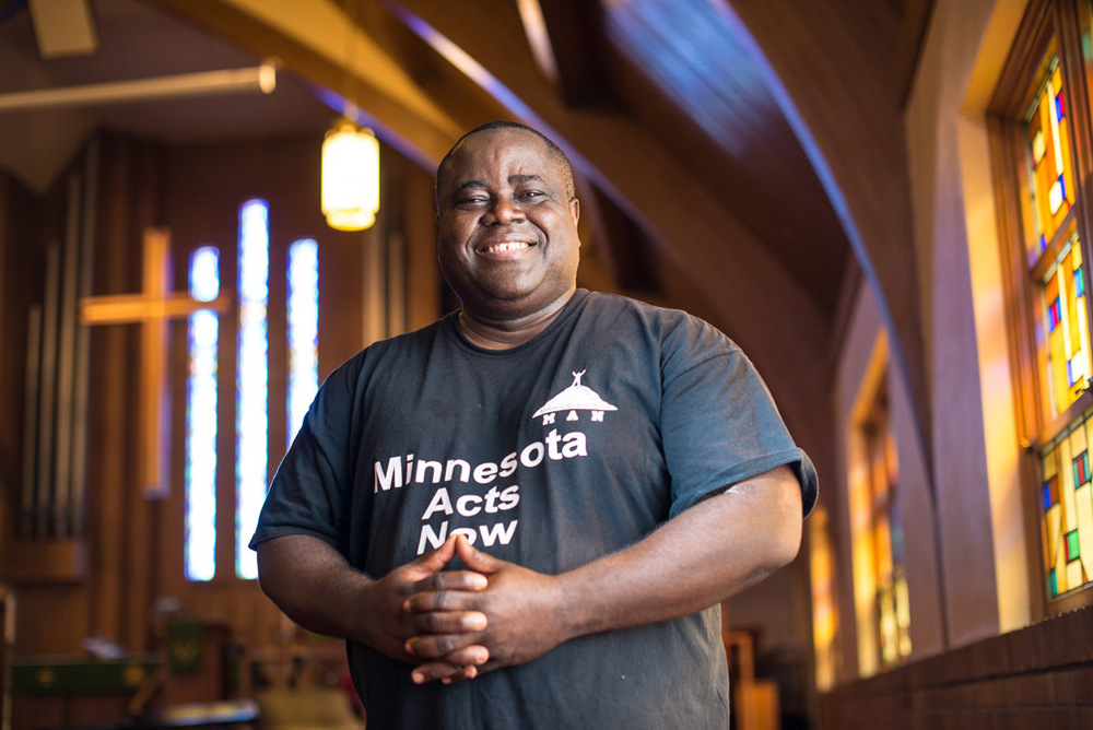 Pastor Harding Smith poses for a photo at the Spiritual Church of God in Robbinsdale, Minn., Friday, June 10, 2016. Smith, an anti-violence activist, has become a controversial figure as some believe he takes advantage of media coverage of those he tries to help after experiencing a tragedy, primarily in the neighborhoods of north Minneapolis.