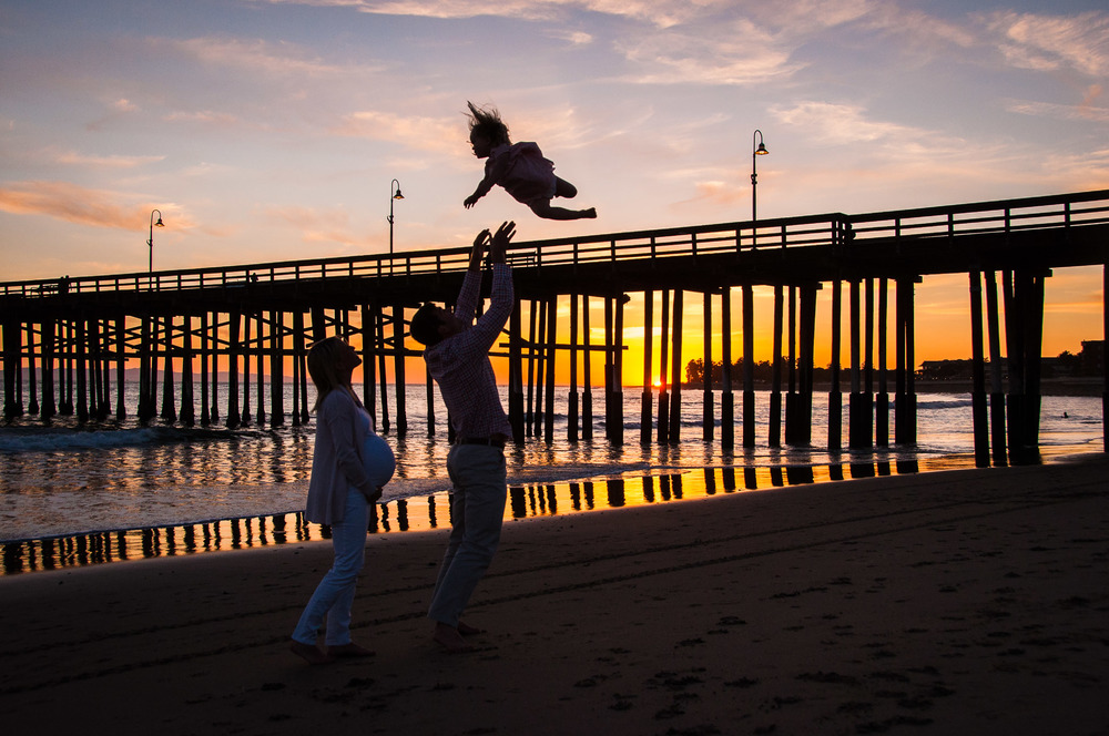 Sunset by the pier, family photography Ventura