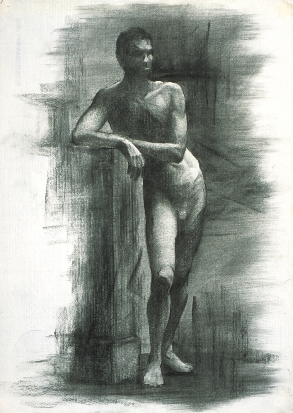 Male Nude, leaning
