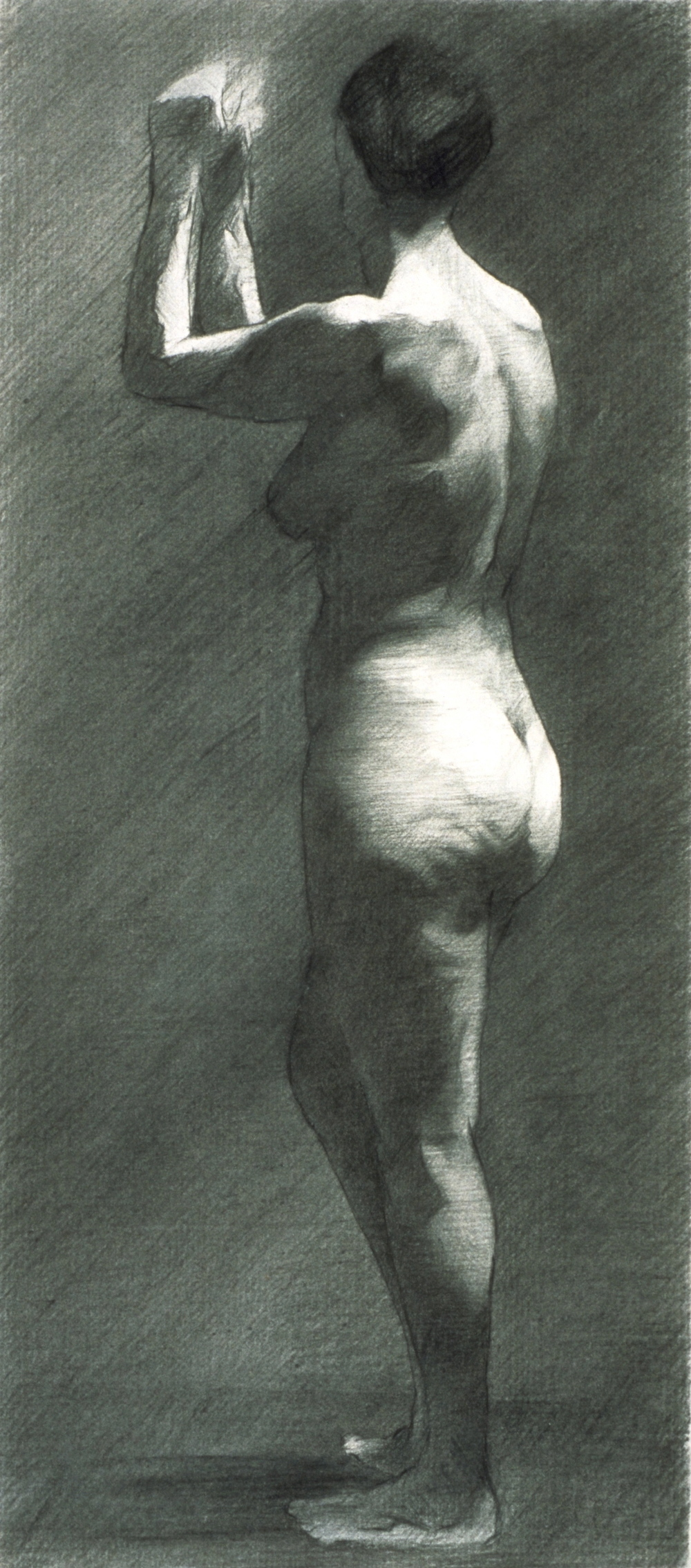 Female Nude, arms raised