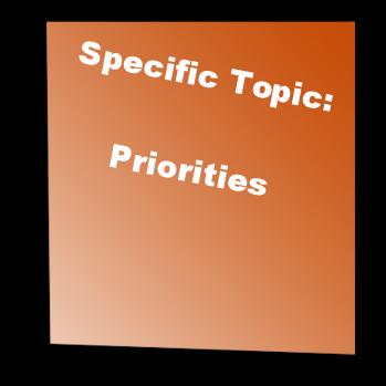 Specific Topic: Priorities