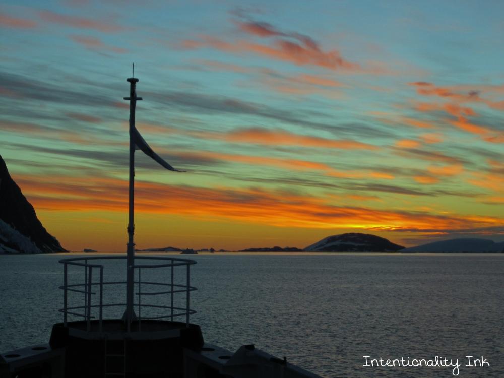 Antarctica Sunset From Cruise ship